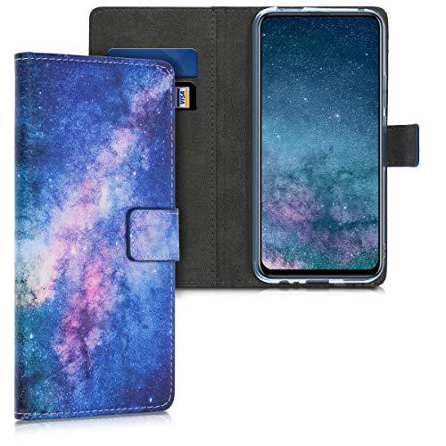 kwmobile Funda Compatible con Huawei P Smart Z - Carcasa de Cuero sintético Estrellas en la Galaxia - con Tarjetero