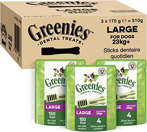GREENIES Original Large – Friandises à mâcher pour grand chien – 12 sticks pour une bonne hygiène bucco-dentaire – 3 sachets de 170g