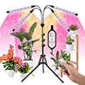 LED Grow Lights for Indoor Plants Full Spectrum Plant Light with 15-60 inches Adjustable Tripod Stand, Red Blue White Floor Grow Lamp with 4/8/12H Timer with Remote Control