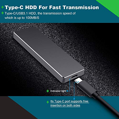 Portable 1TB 2TB External Hard Drive Type C USB 3.1 Portable Hard Drive External for Mac, Laptop,PC (2TB,Black)