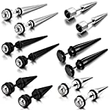 Aroncent 12PCS Men's Stainless Steel Fake Illusion Tunnel Cheater Piercing Jewelry Stud Earrings Set