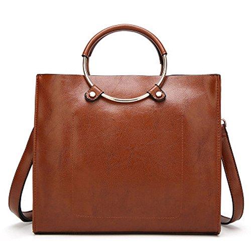 LaFiore24 hochwertige Damen Handtasche Handgelenkstasche PU-Leder Schultertasche Businesstasche mit Beuteltasche (braun)