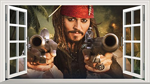 V001 Wandaufkleber/Wandsticker, Motiv: Pirates of The Caribbean Black Pearl Captain Jack Sparrow (groß, 1000 mm breit x 600 mm)
