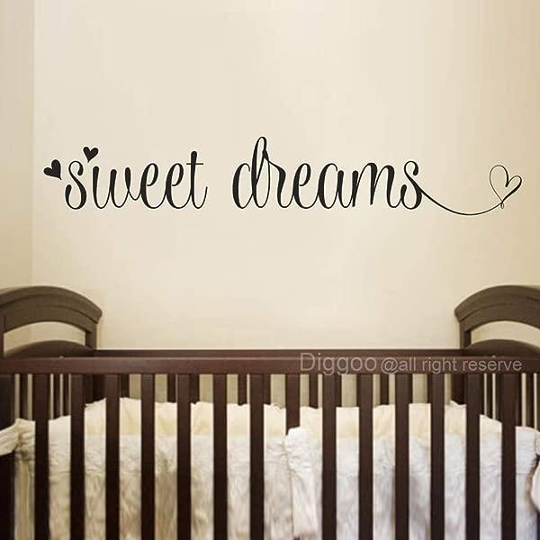 Sweet Dreams Wall Decal Over Crib Vinyl Sticker Sweet Dreams Wall Art Quotes Decals For Nursery Black 4 H X 22 W