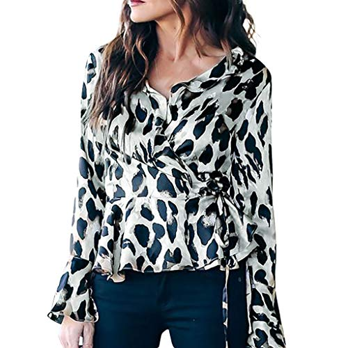 Lazzboy Tops Blouse Womens Flare Long Sleeve Casual Ruffle Dots Print Cross Front Kimono V Neck Tunic Tie Strappy Slim Newchic Shirt (XL(16),Beige)