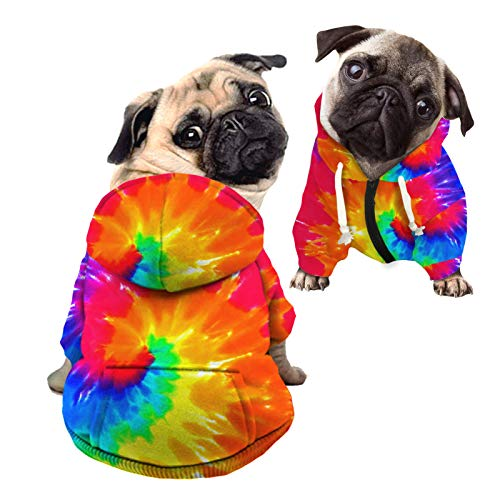 Howilath Dog Hoodie Dog Sweaters with Hat, Tie-dye Rainbow Soft and Warm Dog Sweater for Small Medium Large Dogs Cats Shirt - S