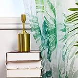 ToDIDAF Transparente Vorhänge Gardinen, Palmenblätter Vorhang Tüll Fenster Behandlung Voile drapieren Volant, 2 Stoffbahnen für Zuhause Wohnzimmer Schlafzimmer Balkon Dekoration, 200 x 100 cm (Grün)