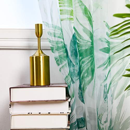 ToDIDAF Transparente Gardinen Vorhänge, Palmenblätter Vorhang Tüll Fenster Behandlung Voile drapieren Volant, 2 Stoffbahnen für Zuhause Wohnzimmer Schlafzimmer Balkon Dekoration, 200 x 100 cm (Grün)