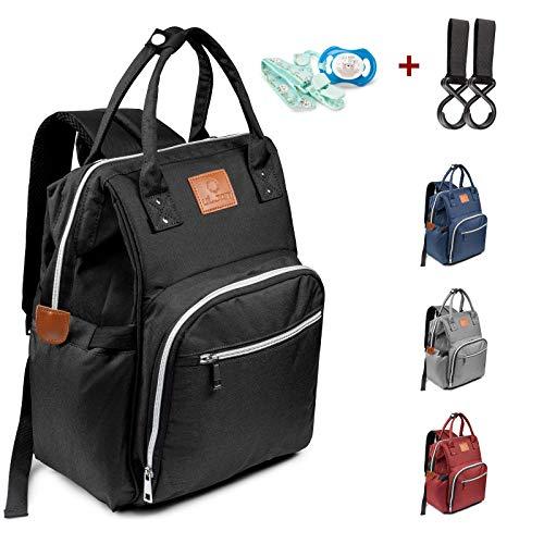 Baby Wickeltasche Wickelrucksack Multifunktional Windeltasche - Schwarz Babytasche mit 2 Kinderwagen Haken Mama Rucksack Wasserdicht