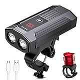 WAKYME Luces Bicicleta, Luz Bici Recargable USB de 5200mAh con Batería Móvil Combo de Luces Delantera y Trasera de LED Inteligente Linterna Bicicleta de Carrera