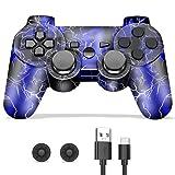 Mando PS3, Mando Inalámbrico para Playstation 3, Mando PS3 Inalámbrico Bluetooth Joystick Doble Vibración con Cable y Agarres para el Pulgar