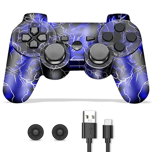 ZLMAY Controller PS3, Joystick PS3, Joystick Playstation 3, Controller PS3 Wireless con Design a Forma di Fulmine, Doppia Vibrazione Gamepads PS3 Joystick Bluetooth conImpugnature Pollice