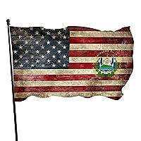 エルサルバドルのアメリカの旗レトロな国章庭の旗3x5フィートの庭の旗外側の両面庭の旗の装飾のための色あせ