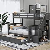 MWKL El más Nuevo Marco de litera de Escalera de Color Gris Doble sobre Completo con Nido de tamaño Doble, barandilla de protección para Dormitorio, Dormitorio