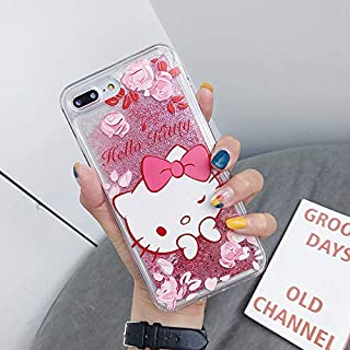Galaxy Note 10+ Case,Cute Hello Kitty Liquid Glitter Case Cover for Samsung Galaxy Note 10 Plus/Note 10 Pro Sparkle Love Heart Clear TPU Shockproof Bumper Case (1# Pink, Note 10+)