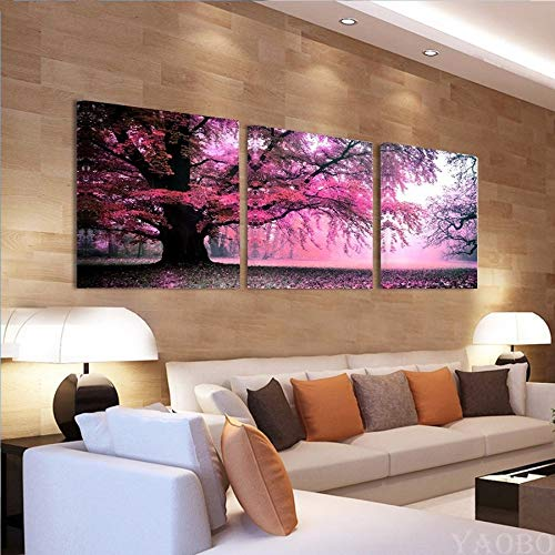 Loderqu 5d Diy Full Square Drill Diamond Painting Purple Tree Landscape 3pcs/set Cross Stitch Rhinestone Embroidery Mosaic Painting Home Handmade cross stitch (Size : Round 60x60cmx3pcs)