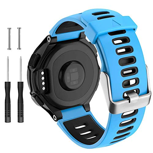 Cakamenshy Correa de reloj compatible con Garmin Forerunner 735XT 220 230 235 620 630 Approach S20 S5 S6 Banda de silicona suave con hebilla de metal para reloj inteligente Garmin (azul)