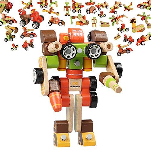 infinitoo Macchina Robot Set Costruzioni Costruzioni Creativo Giochi Bambini Scoprire la Modalità Tridimensionale Multi-Azimuth per Bambini Più di 3anni (colorato)