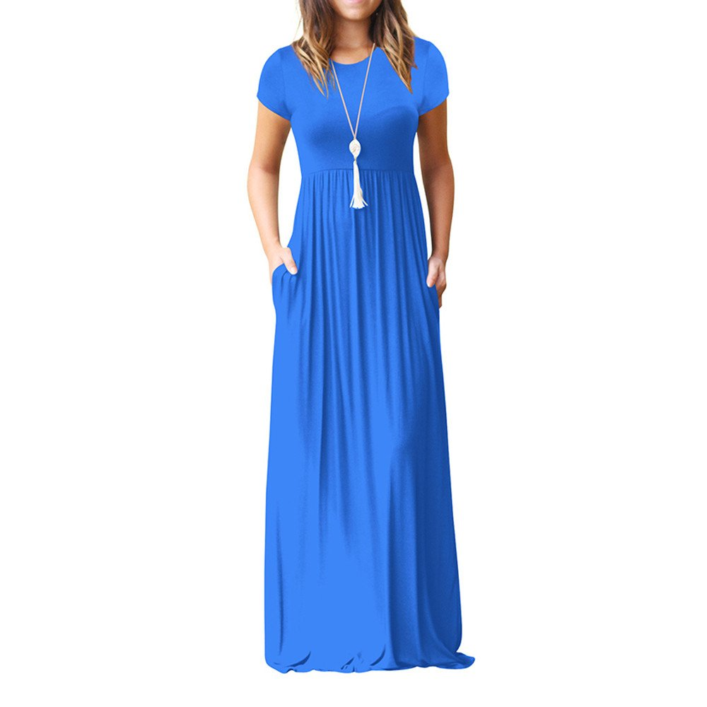 Available at Amazon: Zohto Women's Short Sleeve Loose Plain Maxi Tank Dresses Casual Long Dresses O-Neck Print Cocktail Dresses with Pockets