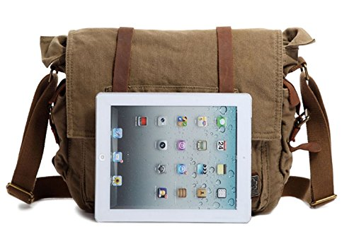 Vintage Military Men Canvas Messenger Bag For 17.3Inch Laptop