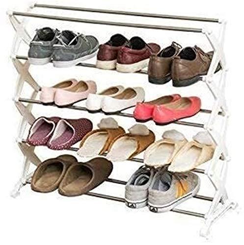 Estante de zapatos Zapatero zapatero familia sencilla y práctica de zapato del zapatero cremallera vertical Caja de almacenamiento de acero inoxidable almacenaje blanco Vacío Asamblea a prueba de polv