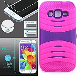 [ NP ARMOR ] Premium Tempered Glass Screen Protector + uPINK/Purple Phone Case for Samsung Core Prime/Samsung Prevail LTE / G360P G360 SM-G360V G360T1 G360T G360H