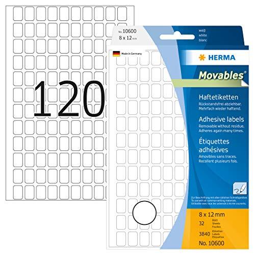 HERMA 10600 uniwersalne etykiety, odklejane (8 x 12 mm, 32 arkusze, papier, matowy) samoprzylepne, etykiety dla gospodarstwa domowego do ręcznego opisania, 3840 etykiet samoprzylepnych, białe