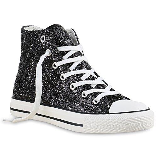 stiefelparadies Damen Sneakers Muster Camouflage Damen Glitzer Turn Sneaker High Schuhe 137107 Schwarz Weiss 38 Flandell