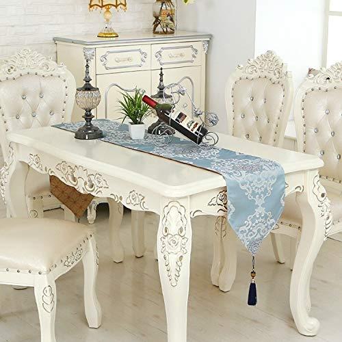 Qinqin666 Tischläufer Neue Tischläufer Präzision Couchtisch Tischläufer für Zuhause (Color : Blue, Size : 32x200cm)
