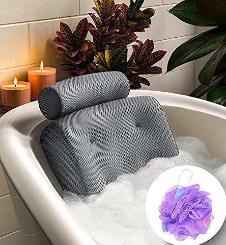 Bestdon Badewannenkissen,Luxus Badewanne Nackenkissen,Badewanne Kissen mit 6 Saugnäpfen,Perfekte Unterstützung für Rücken,Nacken und Kopf, Grau