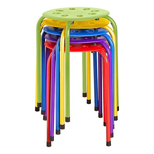 Norwood Commercial Furniture NOR-1101AC-SO stapelbarer Kunststoffhocker, 45 cm Höhe, 30 cm Breite, 30 cm Länge, farbig sortiert (5er Pack)