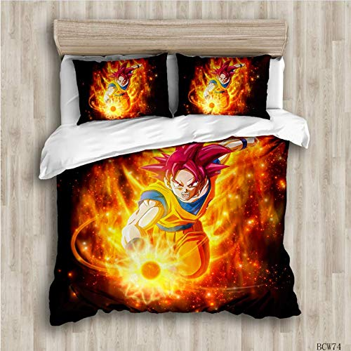 NTT 3D Bed Linen Goku Duvet Room Bedding Set Duvet Cover Set Bedding Set Printed Duvet Cover Set 150 * 200Cm