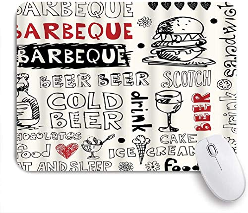 Benutzerdefiniertes Büro Mauspad,Doodles Barbecue kaltes Bier Scotch Food Ice Cream Cake Sandwich Drink Burger,Anti-slip Rubber Base Gaming Mouse Pad Mat