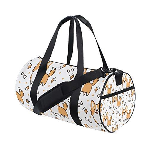 Gym Sports Bag Cute Welsh Corgi Dog Travel Duffel Bag for Men and Women