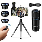 Vorida Phone Camera Lens, 6 in 1 Photography Lens Kit, 14X Pro Telephoto Lens, 180° Fisheye, Wide Angle and Macro Lens with Tripod and Remote Shutter