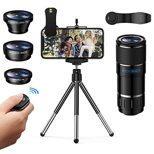 Phone Camera Lens, Vorida 6-in-1 Photography Lens Kit,14X Pro Telephoto Lens+180°Fisheye +0.65X Wide Angle &Macro Lens+Tripod+Remote Shutter Compatible for iPhone,Samsung & Android Smartphones