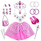 Dress Up Clothes for Little Girls 21 Pcs PrincessPlay Jewelry Toysfor Toddler Kids Princess Accessories for Birthday Party Supplies IncludedCrowns Necklaces Wands Rings EarringsSkirt and Shoes