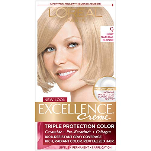 L'Oreal Paris Excellence Creme Permanent Hair Color, 9 Light Natural Blonde, 100 percent Gray Coverage Hair Dye, Pack of 1