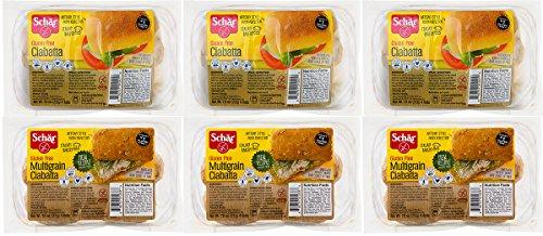 Schar Gluten Free Ciabatta Rolls, 6 Pack (3 Regular, 3 Multigrain Rolls)