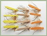 Troutflies UK Ltd Flach Schaumstoff Daddy Long Legs Forelle Fliegen, 12Pack, 3Farben, Größe 10, Fliegenfischen
