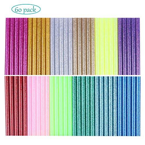 MUCHEN-SHOP Heißklebepatronen,60er Pack Glitter Heißklebestift Farbige Hot Glue Gun Sticks für DIY Kunsthandwerk Reparatur Verklebung 12 Farben 7 * 100mm