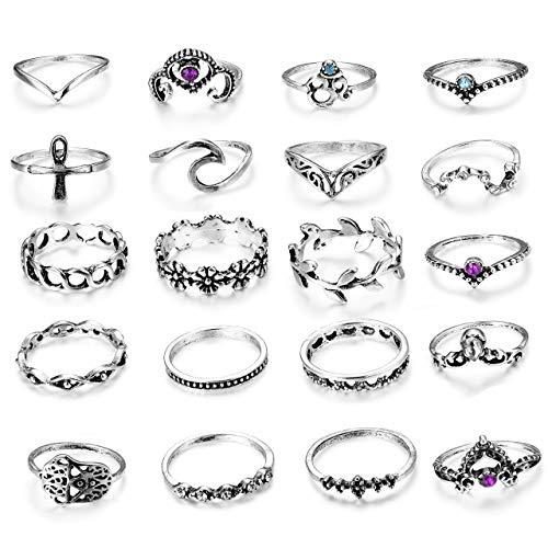 Milacolato 20 Stück Vintage Knuckle Ring Set für Frauen Mädchen stapelbar Ringe Set hohlen geschnitzten Blumen