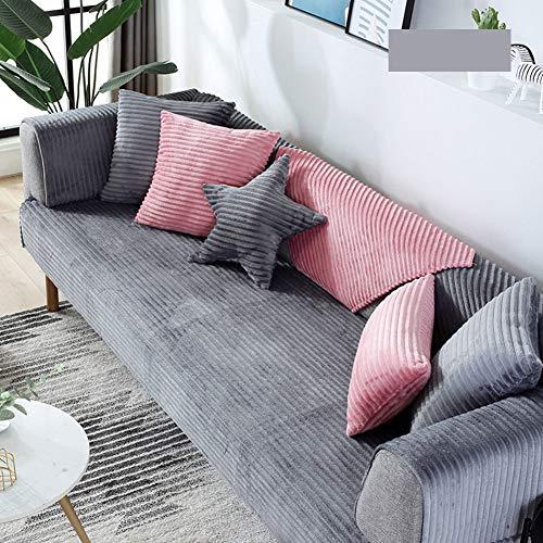 TopJiä Streep Fluwelen Sofa Slipcover Anti-slip, Eendelig, Nordic Winter Pluche Bank Cover Couch Slipcover Voor Hoekbank