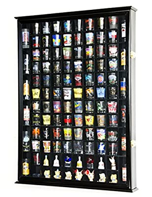 108 Shot Glass Shotglass Shooter Display Case Holder Cabinet Wall Rack 98% UV Lockable Door -Black