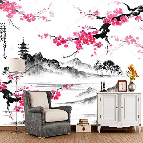 Pegatinas De Pared Papel Pintado De Paisaje Japonés Paisaje Sala De Estar Dormitorio Sofá Papel Tapiz De Fondo Con Ramas De Cerezo Mural Vintage-200Cmx140Cm