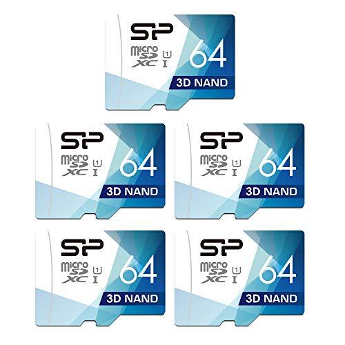 Silicon Power Micro-SD-Karte mit Adapter, 64 GB, 5 Stück