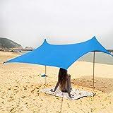Tienda de campaña Tents Beach con Ancla de Arena, Toldo Sombrilla de Playa Resistente al Viento - Protección Solar UPF...