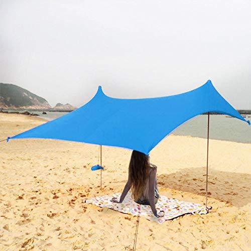 Aheadad - Parasol portátil de playa, tienda de campaña ligera con bolsa de arena UV y licra, gran toldo de familia, para camping, pesca al aire libre
