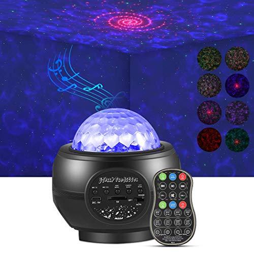 LED Galassia Proiettore, Delicacy Onde Oceaniche Proiettore, Rosso Ricciolo Proiettore Bluetooth Lampada, Stellata Notturne Luci con Timer e Sensore Sonoro, Bambini Adulti Regalo Partito Decorazione