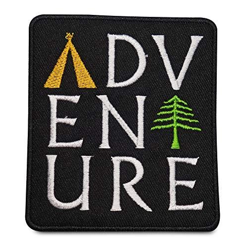 Finally Home Schwarzer Adventure Abenteuer Schriftzug Patch zum Aufbügeln   Baum, Zelt Patches, Bügelflicken, Flicken, Aufnäher